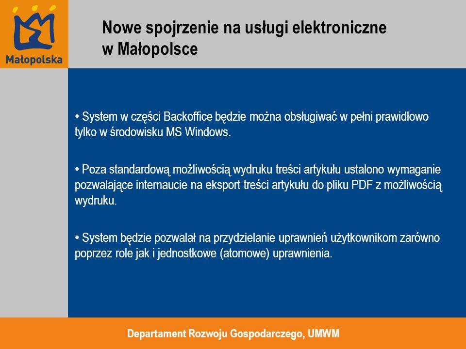 System w części Backoffice będzie można obsługiwać w pełni prawidłowo tylko w środowisku MS Windows. Poza standardową możliwością wydruku treści artyk