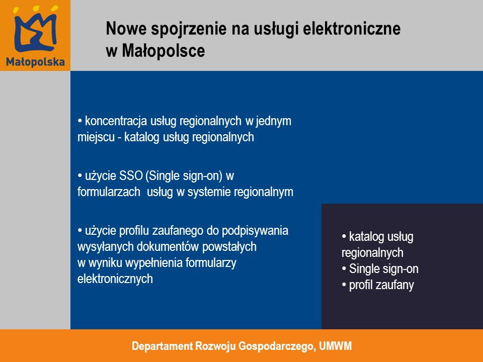 koncentracja usług regionalnych w jednym miejscu - katalog usług regionalnych użycie SSO (Single sign-on) w formularzach usług w systemie regionalnym