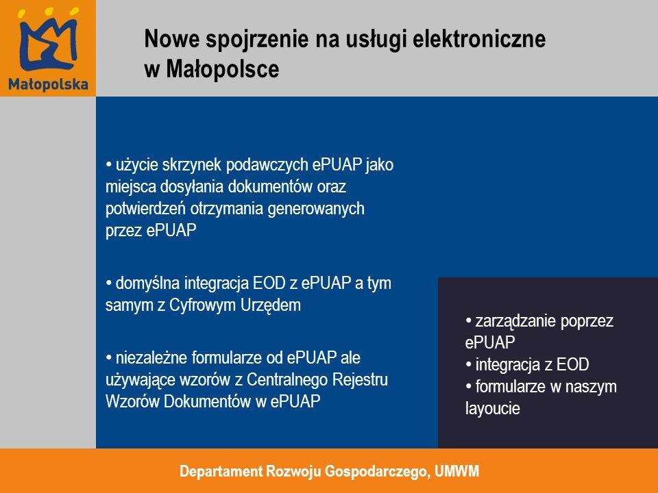 użycie skrzynek podawczych ePUAP jako miejsca dosyłania dokumentów oraz potwierdzeń otrzymania generowanych przez ePUAP domyślna integracja EOD z ePUA