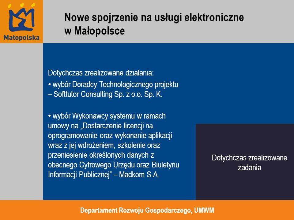 """dostawa infrastruktury sprzętowej ramach zamówienia """"Dostawa, montaż, instalacja i konfiguracja infrastruktury sprzętowej wraz z oprogramowaniem na potrzeby realizacji projektu Wirtualne Muzea Małopolski oraz Rozwój dostępu do usług elektronicznych w Małopolsce Departament Rozwoju Gospodarczego, UMWM Pozostało do zrealizowania Nowe spojrzenie na usługi elektroniczne w Małopolsce"""