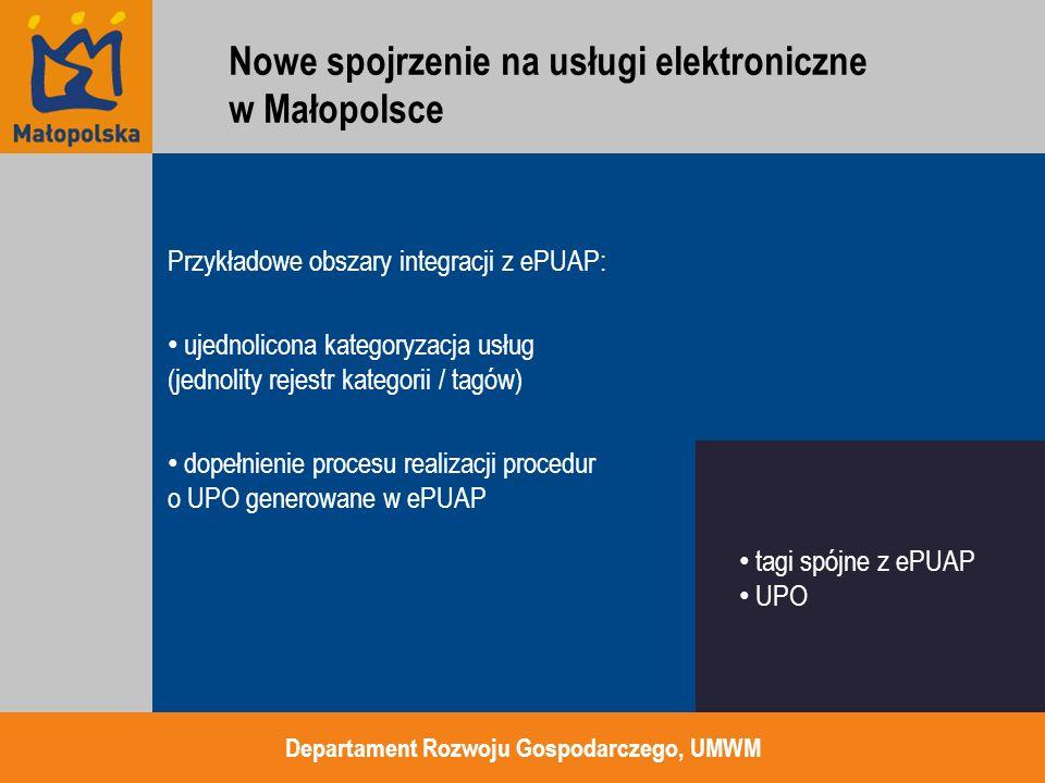 Przykładowe obszary integracji z ePUAP: ujednolicona kategoryzacja usług (jednolity rejestr kategorii / tagów) dopełnienie procesu realizacji procedur