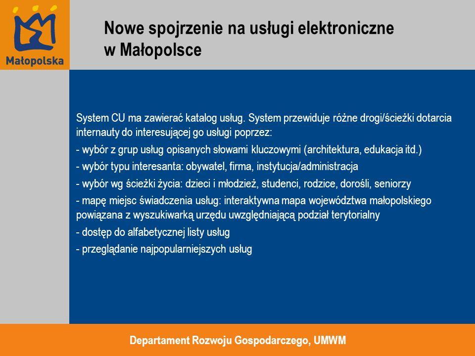 System CU ma zawierać katalog usług. System przewiduje różne drogi/ścieżki dotarcia internauty do interesującej go usługi poprzez: - wybór z grup usłu