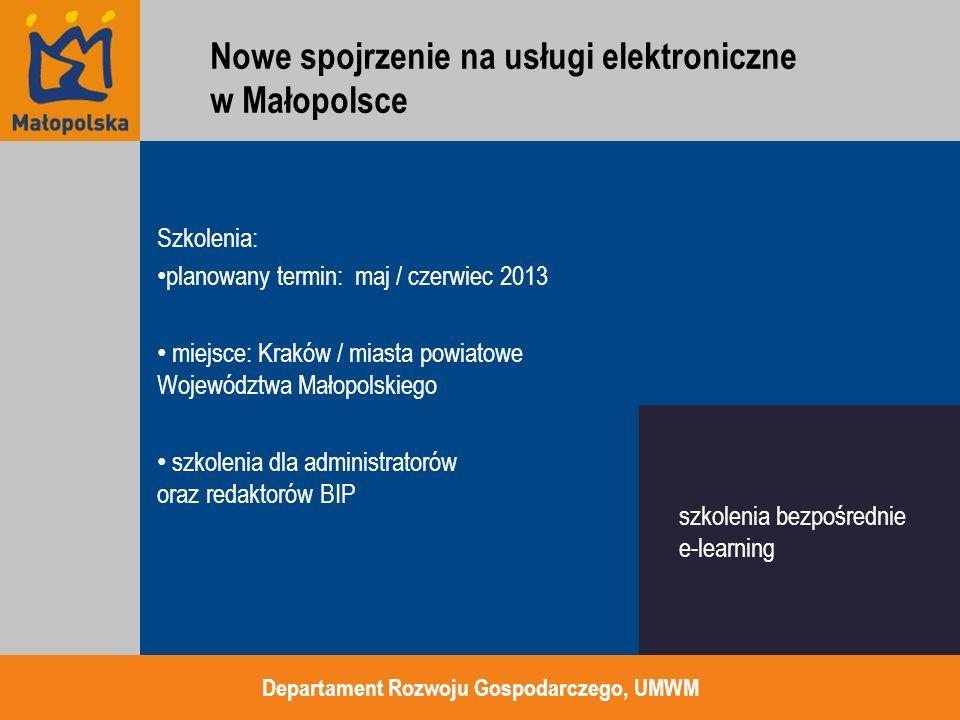 Funkcjonalności nowego BIP system będzie wykonany w oparciu o nowoczesne technologie informatyczne należące do klasy CMS system będzie umożliwiał tworzenie i utrzymanie poszczególnych instancji BIP jednostek zobowiązanych w Województwie Małopolskim w oparciu o zdefiniowany jednolity szablon Biuletynu oraz predefiniowane szablony poszczególnych stron Departament Rozwoju Gospodarczego, UMWM CMS tworzenie BIP na podstawie ujednoliconych szablonów Nowe spojrzenie na usługi elektroniczne w Małopolsce