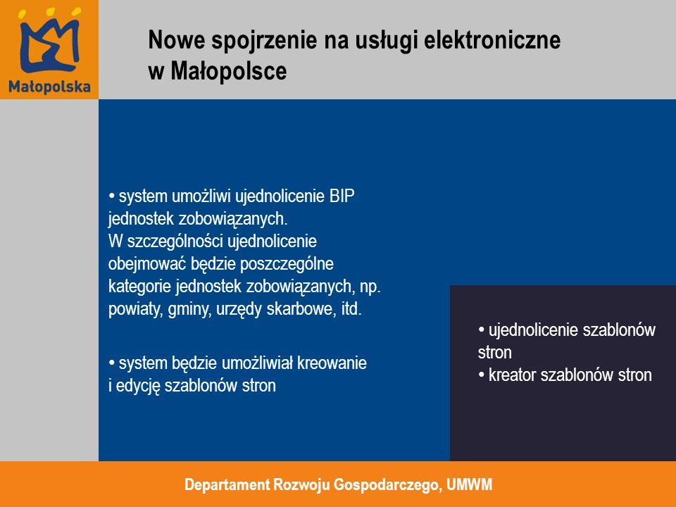 użycie skrzynek podawczych ePUAP jako miejsca dosyłania dokumentów oraz potwierdzeń otrzymania generowanych przez ePUAP domyślna integracja EOD z ePUAP a tym samym z Cyfrowym Urzędem niezależne formularze od ePUAP ale używające wzorów z Centralnego Rejestru Wzorów Dokumentów w ePUAP Departament Rozwoju Gospodarczego, UMWM zarządzanie poprzez ePUAP integracja z EOD formularze w naszym layoucie Nowe spojrzenie na usługi elektroniczne w Małopolsce