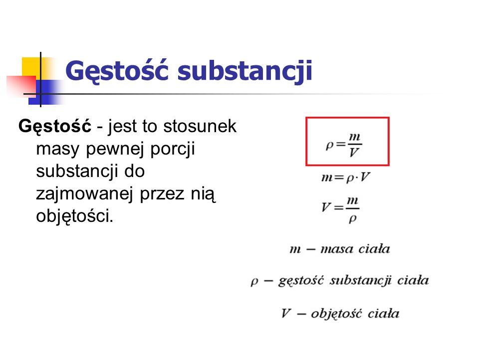 Gęstość substancji Gęstość - jest to stosunek masy pewnej porcji substancji do zajmowanej przez nią objętości.