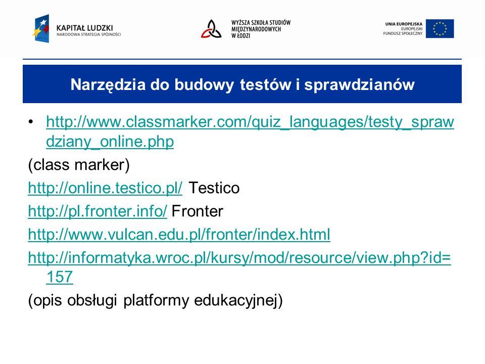 Narzędzia do budowy testów i sprawdzianów http://www.classmarker.com/quiz_languages/testy_spraw dziany_online.phphttp://www.classmarker.com/quiz_languages/testy_spraw dziany_online.php (class marker) http://online.testico.pl/http://online.testico.pl/ Testico http://pl.fronter.info/http://pl.fronter.info/ Fronter http://www.vulcan.edu.pl/fronter/index.html http://informatyka.wroc.pl/kursy/mod/resource/view.php?id= 157 (opis obsługi platformy edukacyjnej)