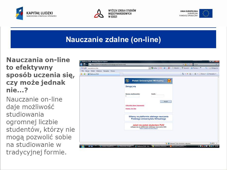 Nauczanie zdalne (on-line) Nauczania on-line to efektywny sposób uczenia się, czy może jednak nie....