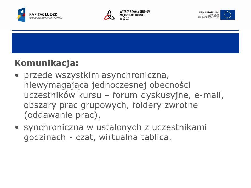 Komunikacja: przede wszystkim asynchroniczna, niewymagająca jednoczesnej obecności uczestników kursu – forum dyskusyjne, e-mail, obszary prac grupowych, foldery zwrotne (oddawanie prac), synchroniczna w ustalonych z uczestnikami godzinach - czat, wirtualna tablica.