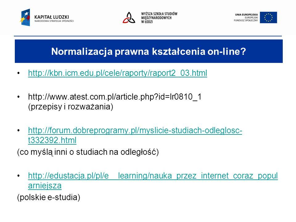 Normalizacja prawna kształcenia on-line.