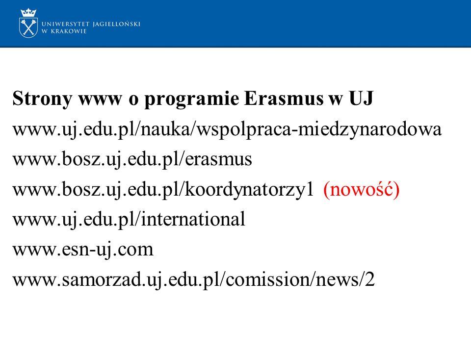 Strony www o programie Erasmus w UJ www.uj.edu.pl/nauka/wspolpraca-miedzynarodowa www.bosz.uj.edu.pl/erasmus www.bosz.uj.edu.pl/koordynatorzy1 (nowość) www.uj.edu.pl/international www.esn-uj.com www.samorzad.uj.edu.pl/comission/news/2