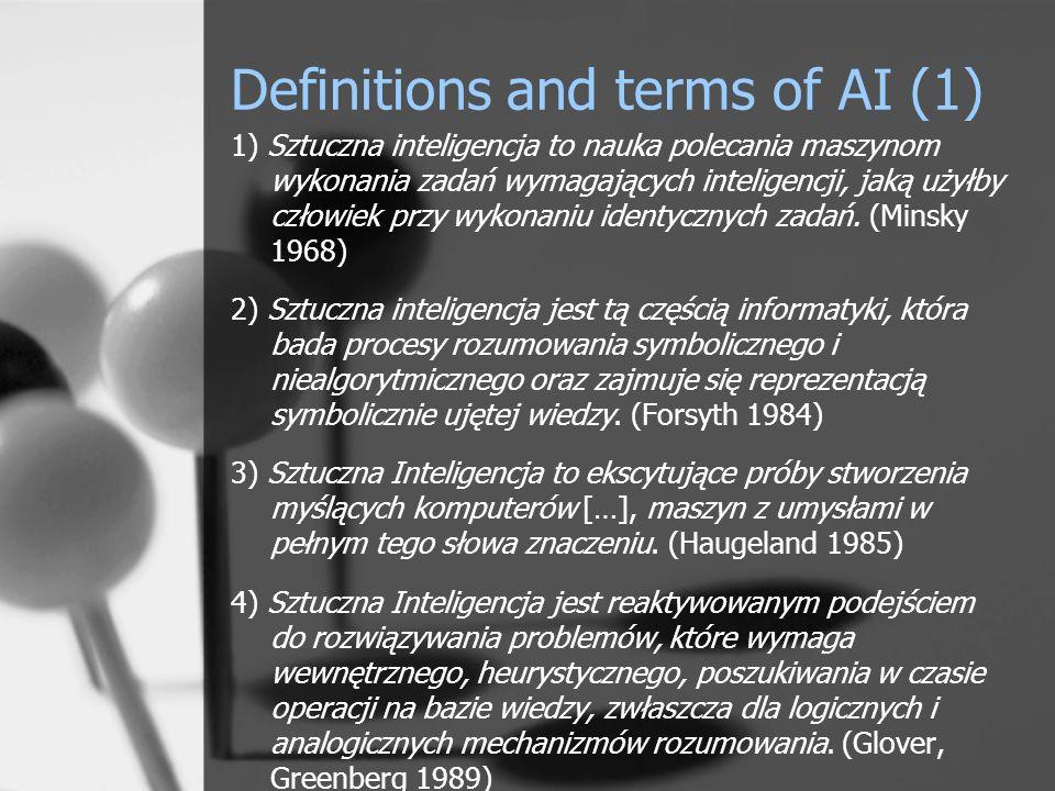 Definitions and terms of AI (2) 5) Sztuczna Inteligencja to dziedzina badań, podczas których próbuje się naśladować ludzką inteligencję w maszynie.