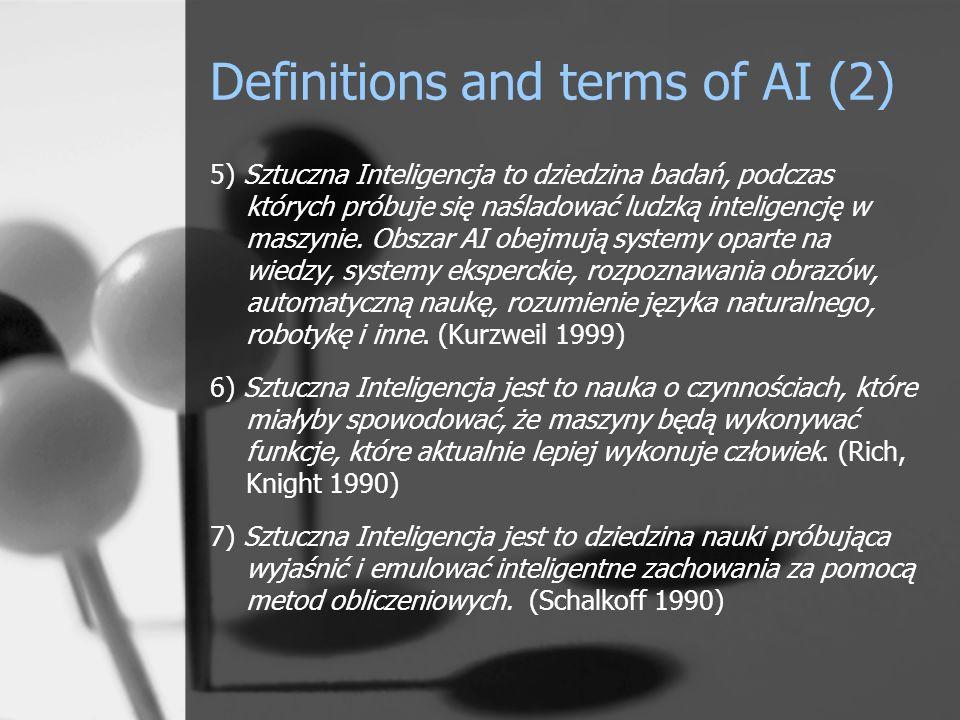 Definitions and terms of AI (3) 8) Sztuczna inteligencja [podejmuje] prace nad metodami obliczeniowymi, które umożliwiałyby [maszynom] postrzeganie, wnioskowanie, działanie.