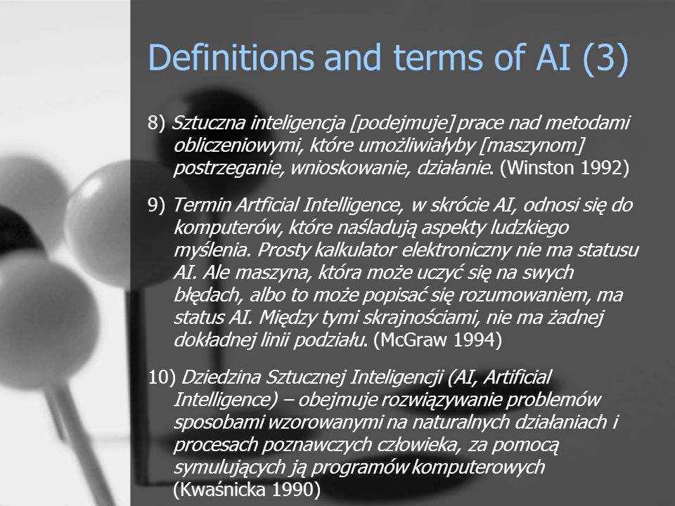 Criteria for the classification of AI (1) Due to the lack of universally accepted criteria for the distribution of artificial intelligence suggested its division into subareas due to two criteria: solving class of tasks, technique used.