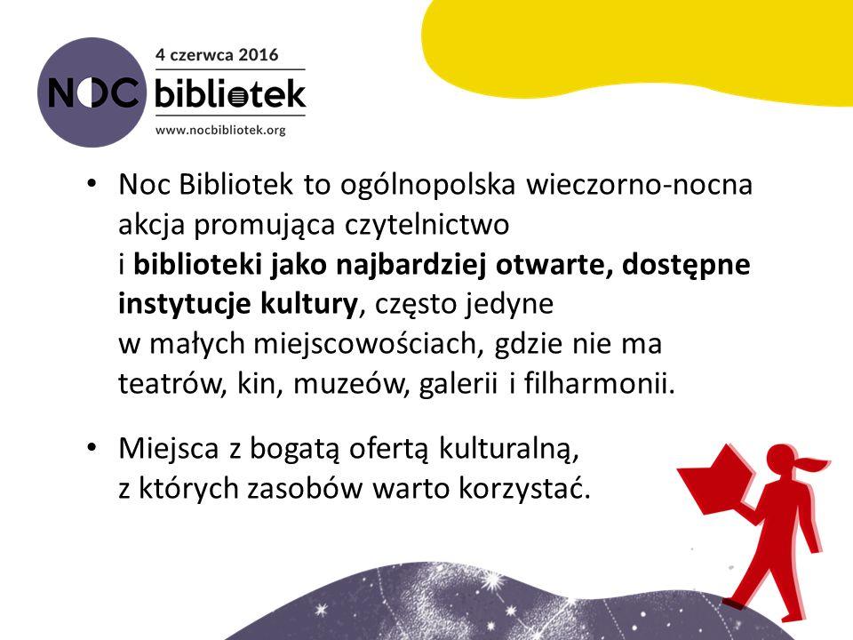 Noc Bibliotek to ogólnopolska wieczorno-nocna akcja promująca czytelnictwo i biblioteki jako najbardziej otwarte, dostępne instytucje kultury, często jedyne w małych miejscowościach, gdzie nie ma teatrów, kin, muzeów, galerii i filharmonii.