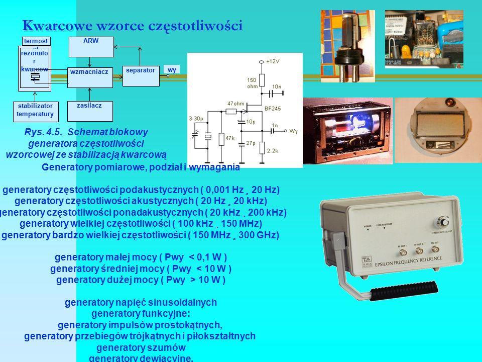 Kwarcowe wzorce częstotliwości Rys. 4.5. Schemat blokowy generatora częstotliwości wzorcowej ze stabilizacją kwarcową Generatory pomiarowe, podział i