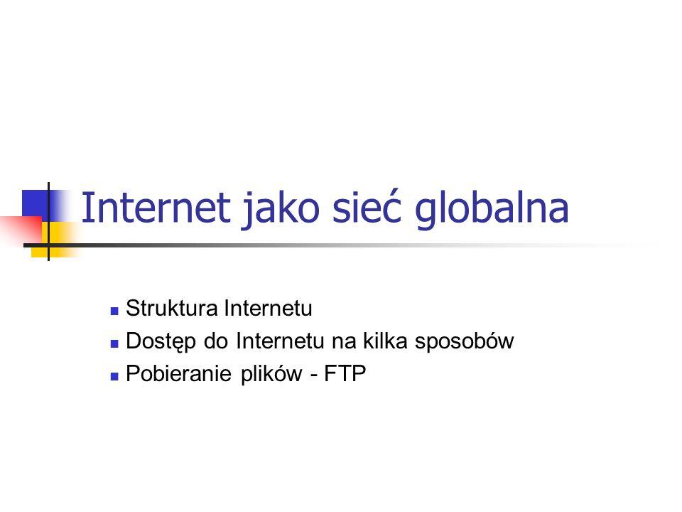 Struktura Internetu Internet to zespół różnego rodzaju środków technicznych, takich jak: łącza telekomunikacyjne, serwery, komputery – umożliwiających realizację wielorakich usług związanych z przekazywaniem i wymianą informacji.