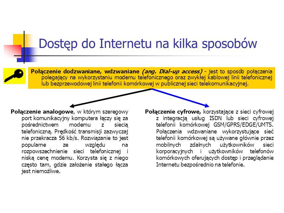 Dostęp do Internetu na kilka sposobów Połączenie dodzwaniane, wdzwaniane (ang.