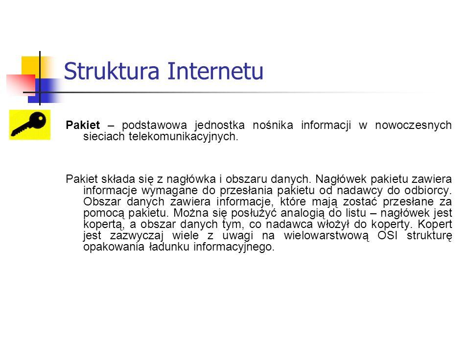 Struktura Internetu Pakiet – podstawowa jednostka nośnika informacji w nowoczesnych sieciach telekomunikacyjnych.
