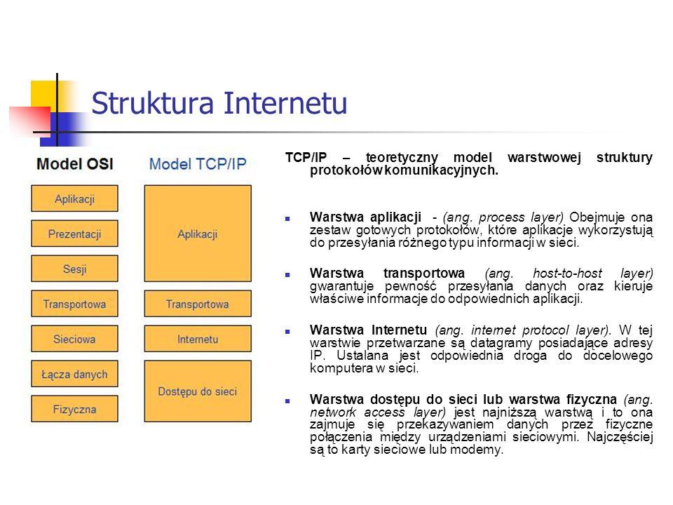 Struktura Internetu TCP/IP – teoretyczny model warstwowej struktury protokołów komunikacyjnych.