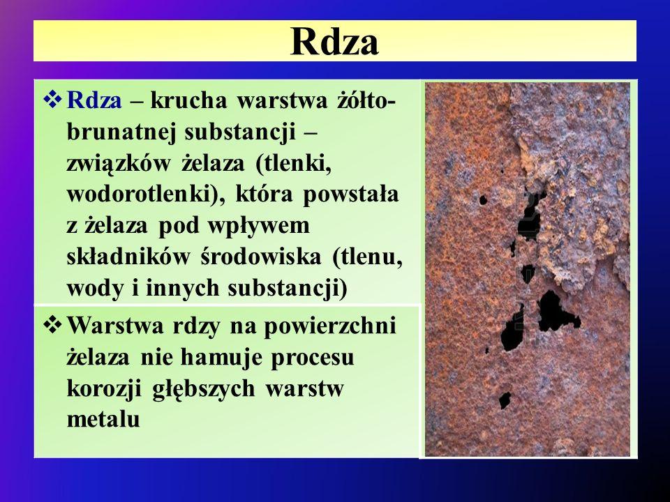 Rdza  Rdza – krucha warstwa żółto- brunatnej substancji – związków żelaza (tlenki, wodorotlenki), która powstała z żelaza pod wpływem składników środ