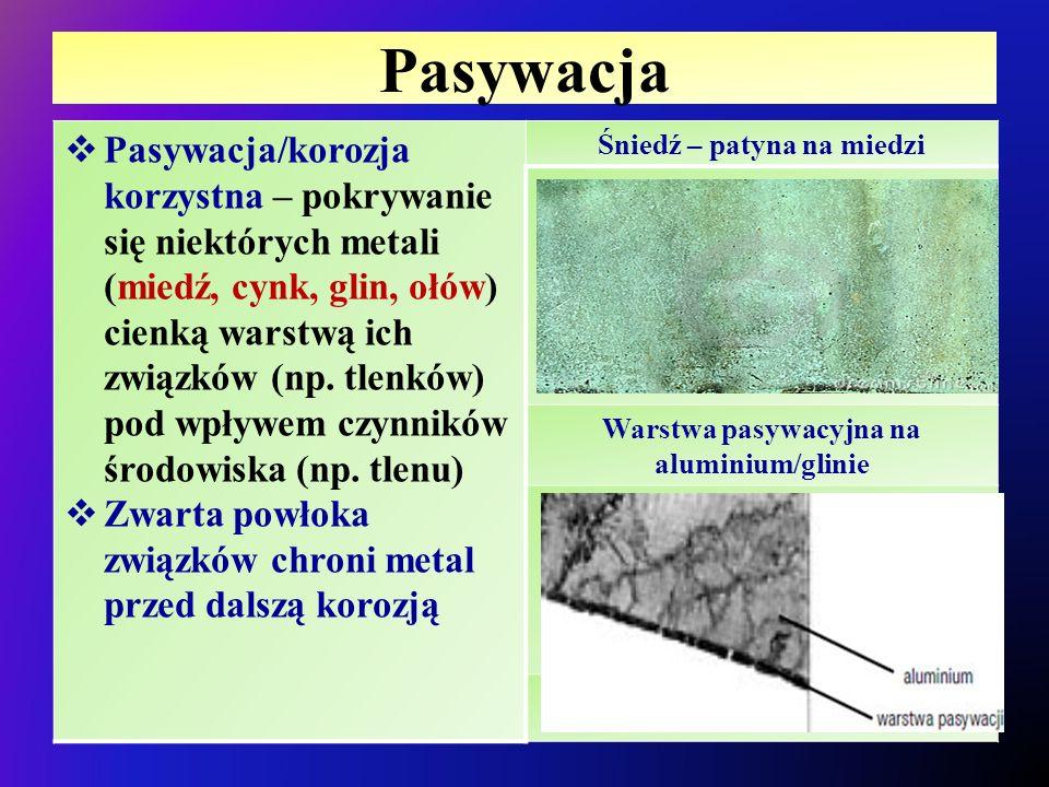 Pasywacja  Pasywacja/korozja korzystna – pokrywanie się niektórych metali (miedź, cynk, glin, ołów) cienką warstwą ich związków (np. tlenków) pod wpł