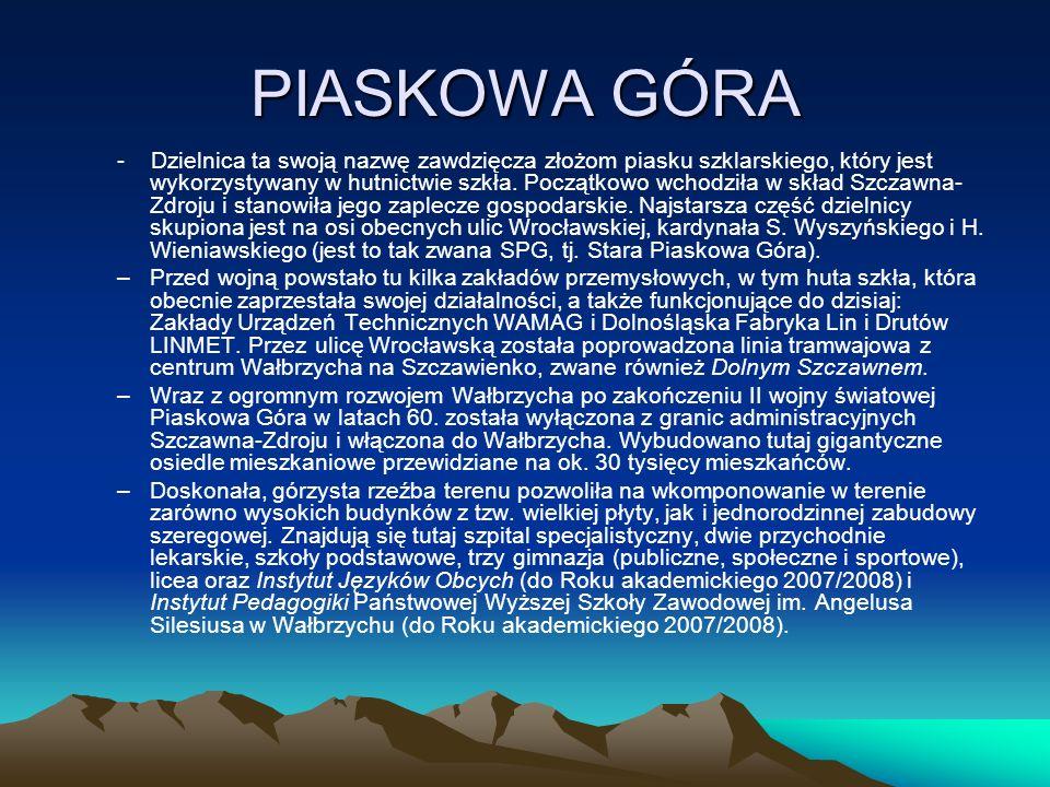 PIASKOWA GÓRA - Dzielnica ta swoją nazwę zawdzięcza złożom piasku szklarskiego, który jest wykorzystywany w hutnictwie szkła.