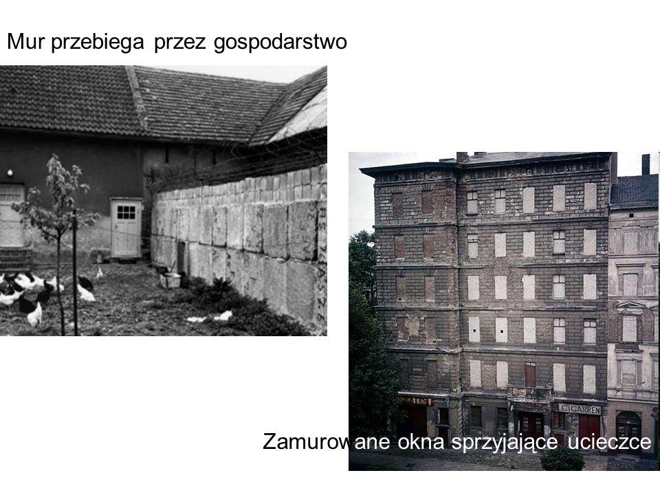 Mur przebiega przez gospodarstwo Zamurowane okna sprzyjające ucieczce