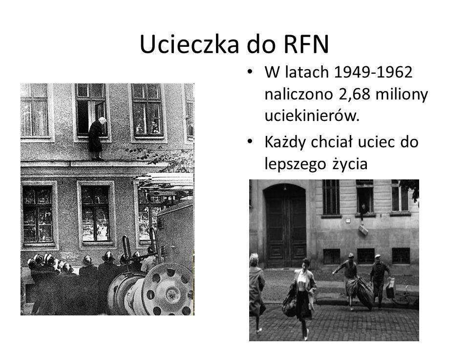 Ucieczka do RFN W latach 1949-1962 naliczono 2,68 miliony uciekinierów.