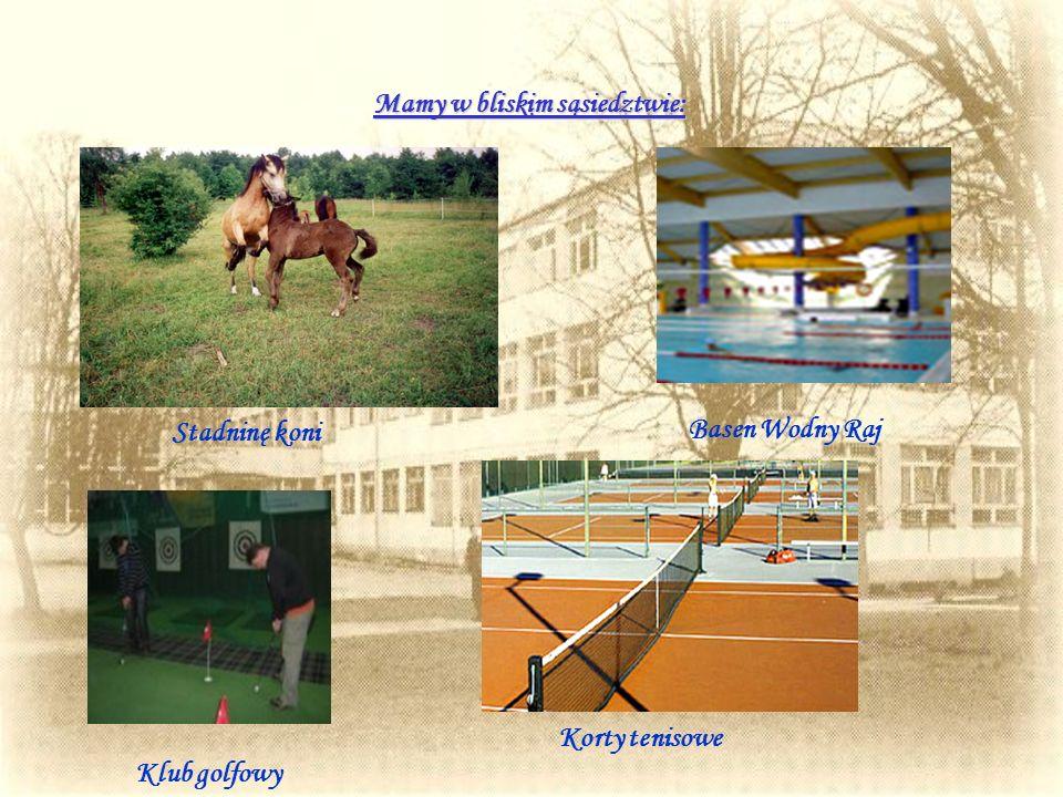Mamy w bliskim sąsiedztwie: Stadninę koni Basen Wodny Raj Klub golfowy Korty tenisowe