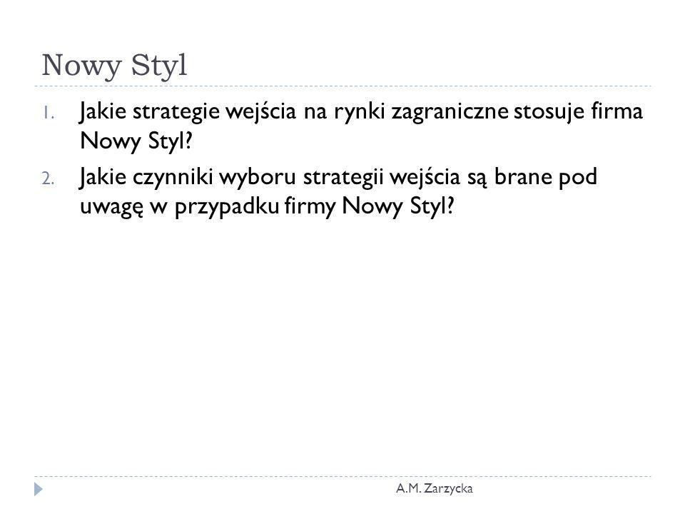Nowy Styl 1.Jakie strategie wejścia na rynki zagraniczne stosuje firma Nowy Styl.