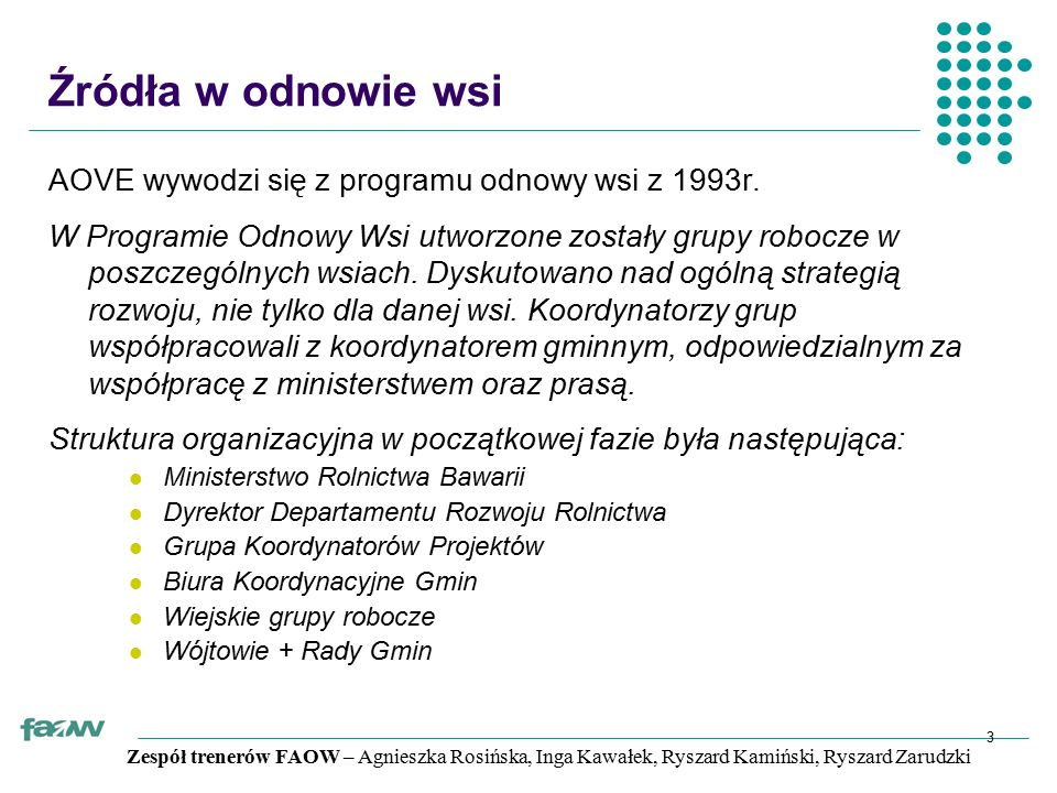 Zespół trenerów FAOW – Agnieszka Rosińska, Inga Kawałek, Ryszard Kamiński, Ryszard Zarudzki 3 Źródła w odnowie wsi AOVE wywodzi się z programu odnowy wsi z 1993r.