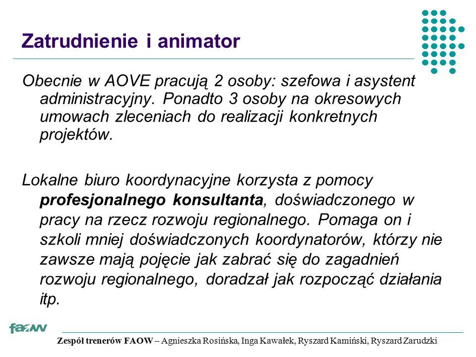 Zespół trenerów FAOW – Agnieszka Rosińska, Inga Kawałek, Ryszard Kamiński, Ryszard Zarudzki Zatrudnienie i animator Obecnie w AOVE pracują 2 osoby: szefowa i asystent administracyjny.