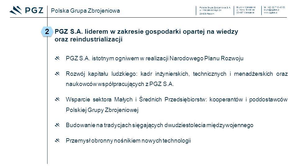 Polska Grupa Zbrojeniowa S.A. ul. Malczewskiego 24 26-609 Radom Biuro w Warszawie ul. Nowy Świat 4a 00-497 Warszawa tel. (48) 22 718 43 00 biuro@pgzsa