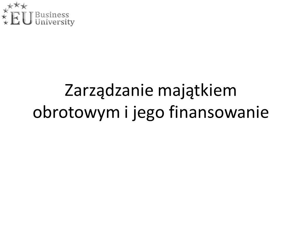 Zarządzanie majątkiem obrotowym i jego finansowanie