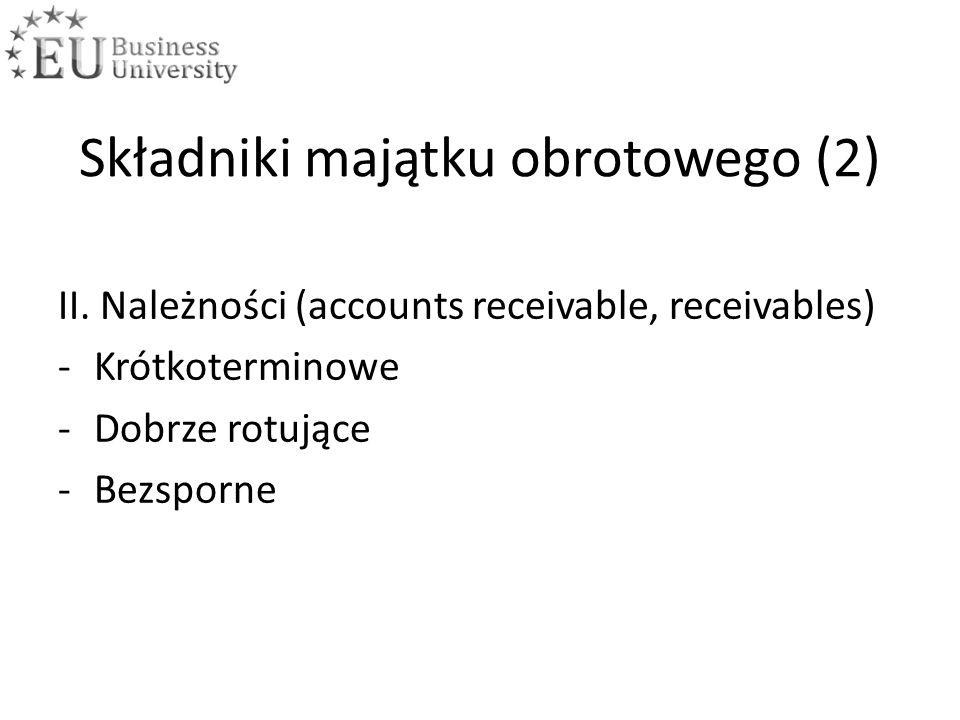 Składniki majątku obrotowego (2) II. Należności (accounts receivable, receivables) -Krótkoterminowe -Dobrze rotujące -Bezsporne