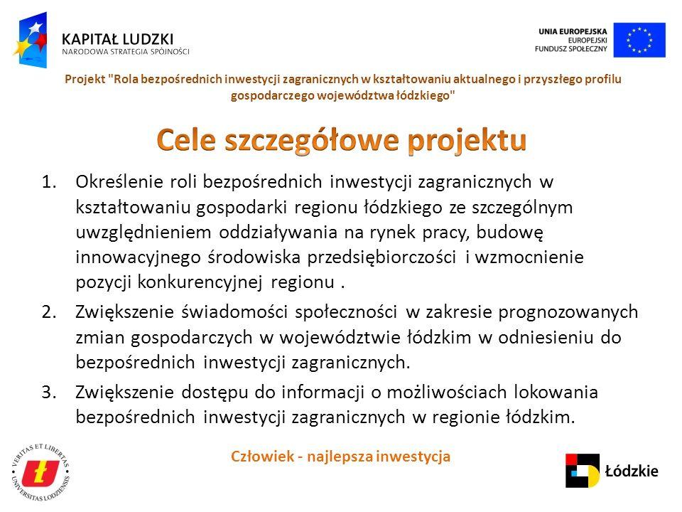 Człowiek - najlepsza inwestycja Projekt Rola bezpośrednich inwestycji zagranicznych w kształtowaniu aktualnego i przyszłego profilu gospodarczego województwa łódzkiego 1.Określenie roli bezpośrednich inwestycji zagranicznych w kształtowaniu gospodarki regionu łódzkiego ze szczególnym uwzględnieniem oddziaływania na rynek pracy, budowę innowacyjnego środowiska przedsiębiorczości i wzmocnienie pozycji konkurencyjnej regionu.