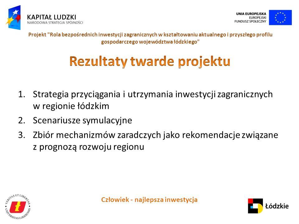 Człowiek - najlepsza inwestycja Projekt Rola bezpośrednich inwestycji zagranicznych w kształtowaniu aktualnego i przyszłego profilu gospodarczego województwa łódzkiego 1.Strategia przyciągania i utrzymania inwestycji zagranicznych w regionie łódzkim 2.Scenariusze symulacyjne 3.Zbiór mechanizmów zaradczych jako rekomendacje związane z prognozą rozwoju regionu