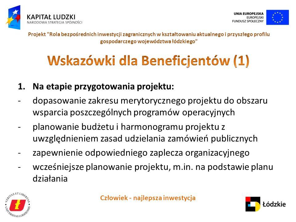 Człowiek - najlepsza inwestycja Projekt Rola bezpośrednich inwestycji zagranicznych w kształtowaniu aktualnego i przyszłego profilu gospodarczego województwa łódzkiego 1.Na etapie przygotowania projektu: -dopasowanie zakresu merytorycznego projektu do obszaru wsparcia poszczególnych programów operacyjnych -planowanie budżetu i harmonogramu projektu z uwzględnieniem zasad udzielania zamówień publicznych -zapewnienie odpowiedniego zaplecza organizacyjnego -wcześniejsze planowanie projektu, m.in.