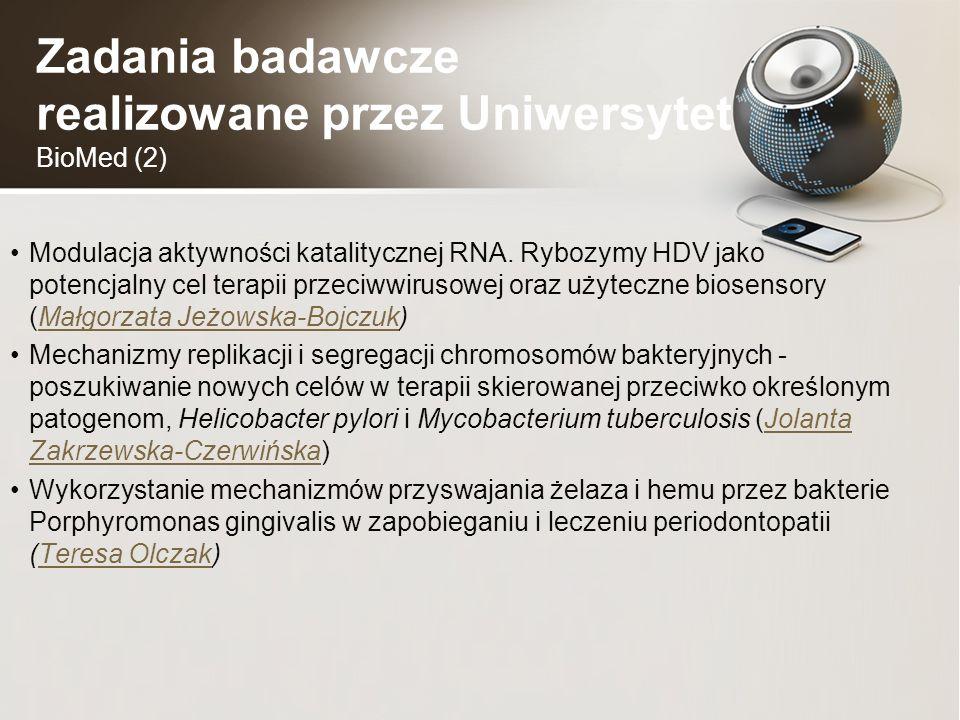 Zadania badawcze realizowane przez Uniwersytet BioMed (2) Modulacja aktywności katalitycznej RNA.