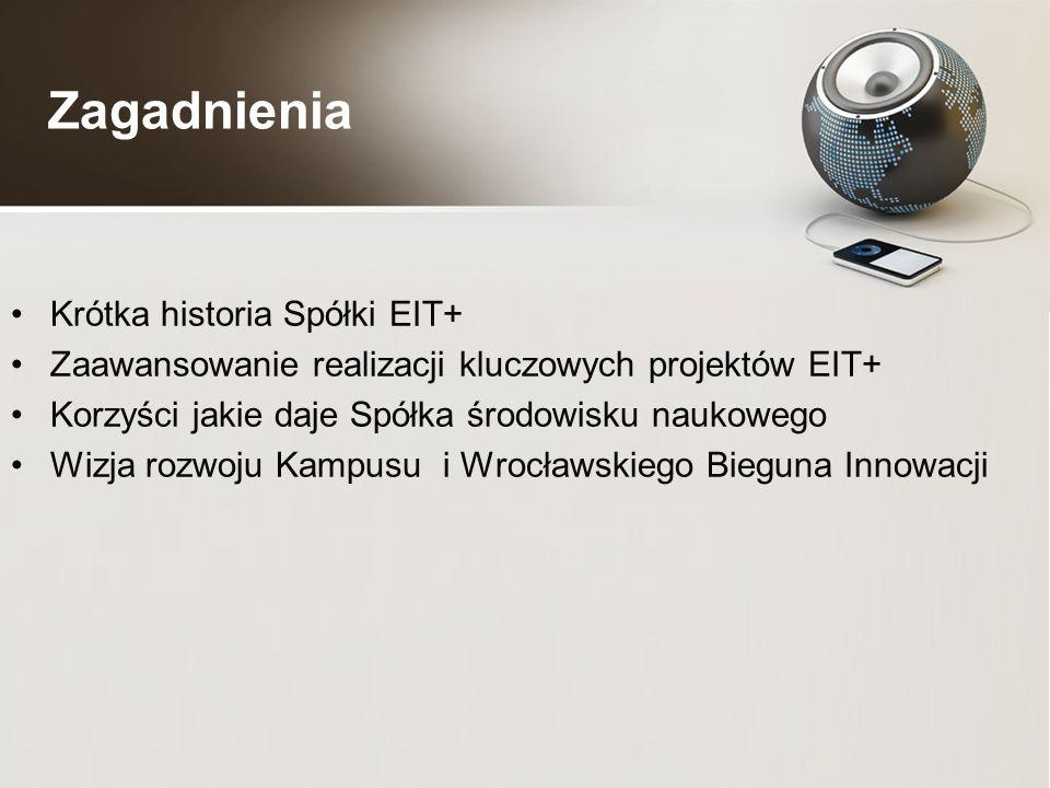Zagadnienia Krótka historia Spółki EIT+ Zaawansowanie realizacji kluczowych projektów EIT+ Korzyści jakie daje Spółka środowisku naukowego Wizja rozwoju Kampusu i Wrocławskiego Bieguna Innowacji