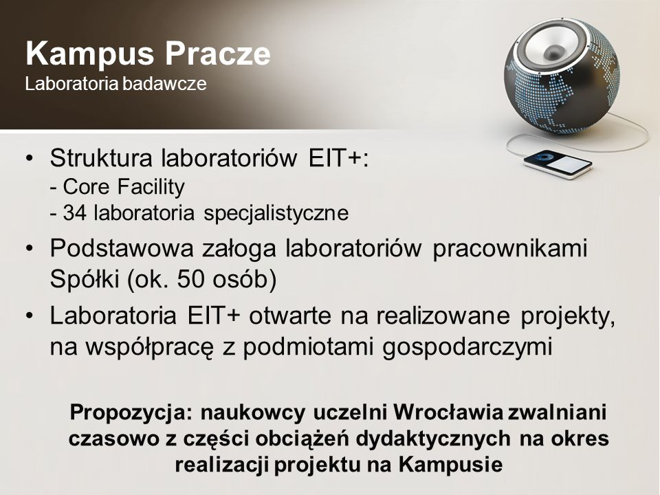 Kampus Pracze Laboratoria badawcze Struktura laboratoriów EIT+: - Core Facility - 34 laboratoria specjalistyczne Podstawowa załoga laboratoriów pracownikami Spółki (ok.