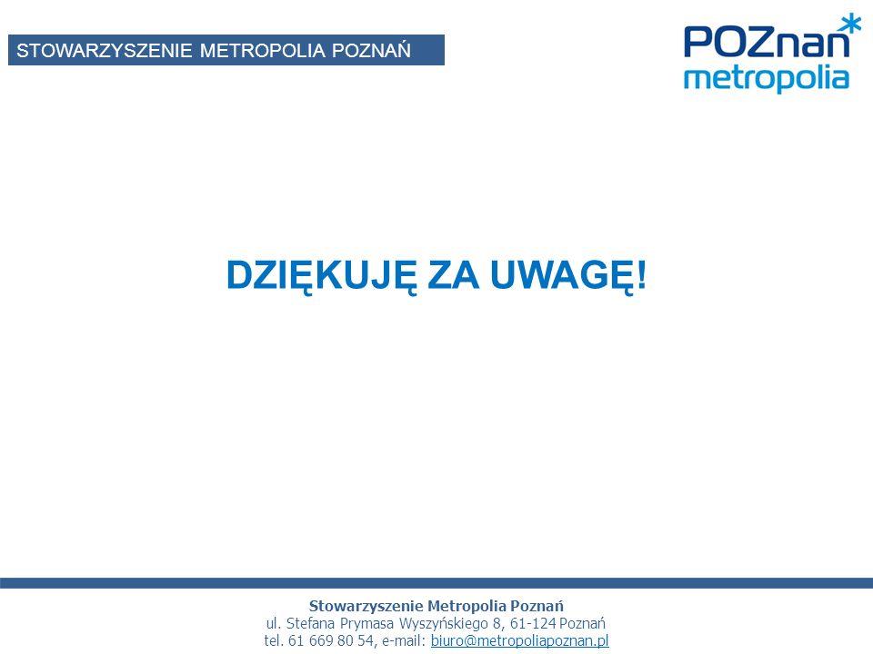 DZIĘKUJĘ ZA UWAGĘ. STOWARZYSZENIE METROPOLIA POZNAŃ Stowarzyszenie Metropolia Poznań ul.
