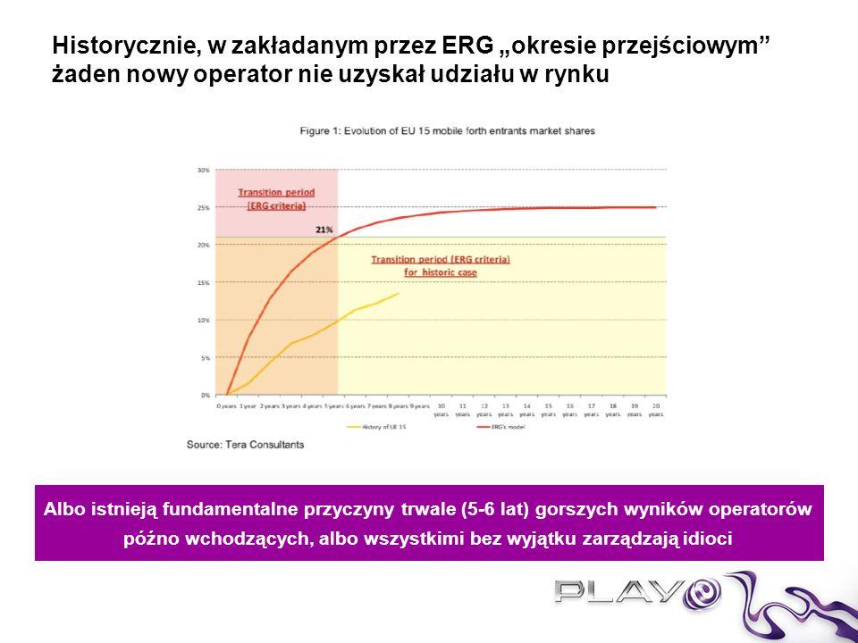 4 Nowy operator wchodzący na rynek z opóźnieniem względem konkurentów ma TRWALE SŁABSZĄ pozycję konkurencyjną Asymetria jest ograniczona w czasie – ma likwidować efekt późnego wejścia na rynek –Efekty sieciowe –First – mover advantage Asymetria uzasadniona jest nie tylko przez różnicę w sytuacji rynkowej, ale także przez różnicę faktycznych kosztów świadczenia usługi –P4 ponosi ogromne koszty rozwoju, przede wszystkim wynikające z budowy infrastruktury i pozyskiwania klientów (-470 mPLN EBITDA) –P4 korzysta z roamingu krajowego – który podnosi koszty P4 i jest de facto finansowany z asymetrii MTR