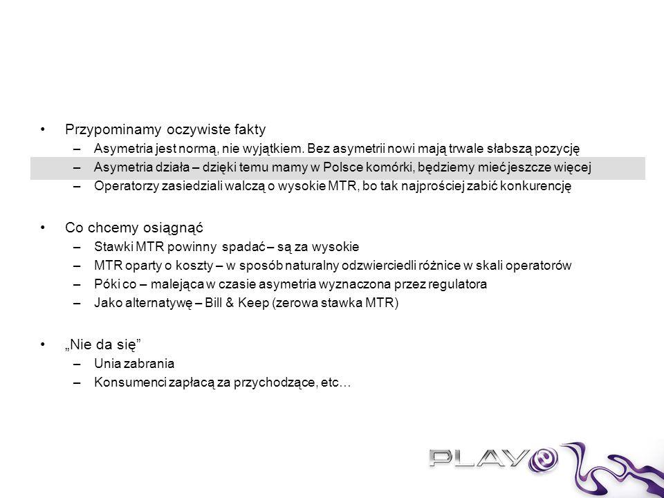 Historia polskiego rynku GSM to dowód, jak skutecznie asymetryczne stawki hurtowe wspierają nowych graczy, promując nowe technologie i zwiększając konkurencję dla dobra klientów Kiedy przyszło do wprowadzenia w Polsce technologii GSM, władze odgórnie usankcjonowały asymetrię stawek terminacyjnych między operatorami stacjonarnymi a komórkowymi Wobec wczesnej fazy rozwoju rynku komórkowego, rozliczenia F2M / M2F stanowiły blisko 100% ówczesnego interkonektu, przy asymetrii ~500% –Obecnie, w P4 – niespełna 5%.