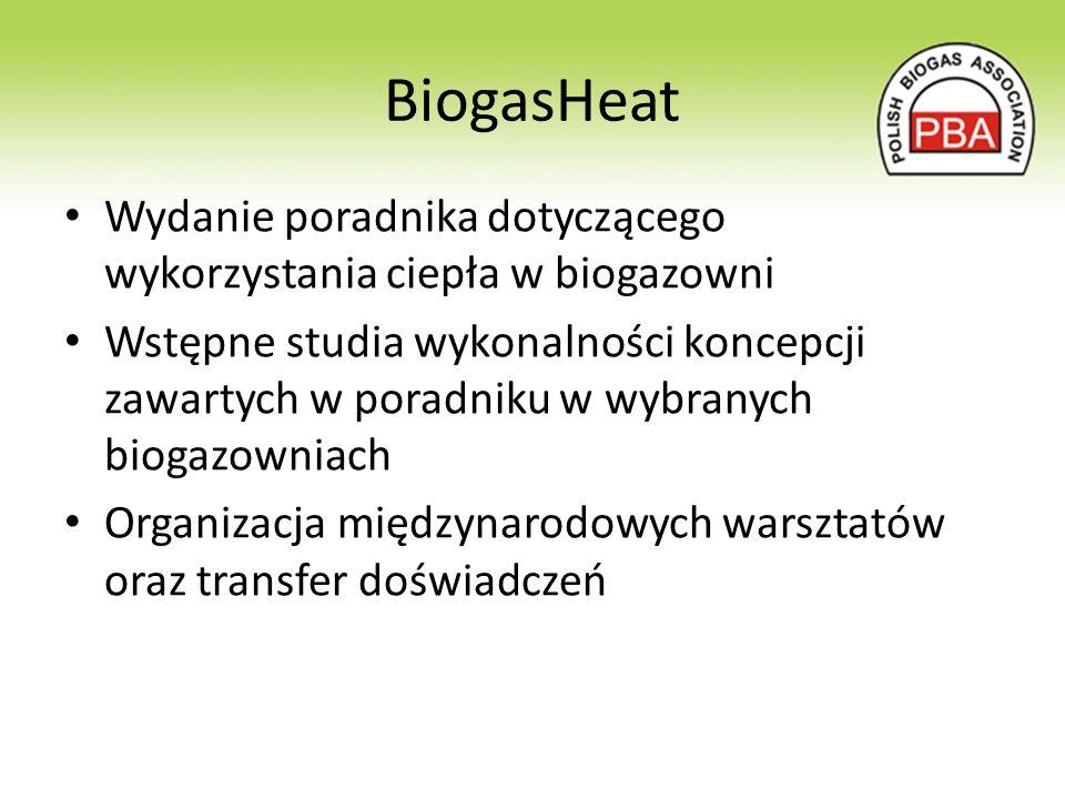 BiogasHeat Wydanie poradnika dotyczącego wykorzystania ciepła w biogazowni Wstępne studia wykonalności koncepcji zawartych w poradniku w wybranych biogazowniach Organizacja międzynarodowych warsztatów oraz transfer doświadczeń