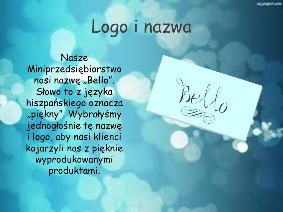 """Logo i nazwa Nasze Miniprzedsiębiorstwo nosi nazwę """"Bello"""". Słowo to z języka hiszpańskiego oznacza """"piękny"""". Wybrałyśmy jednogłośnie tę nazwę i logo,"""