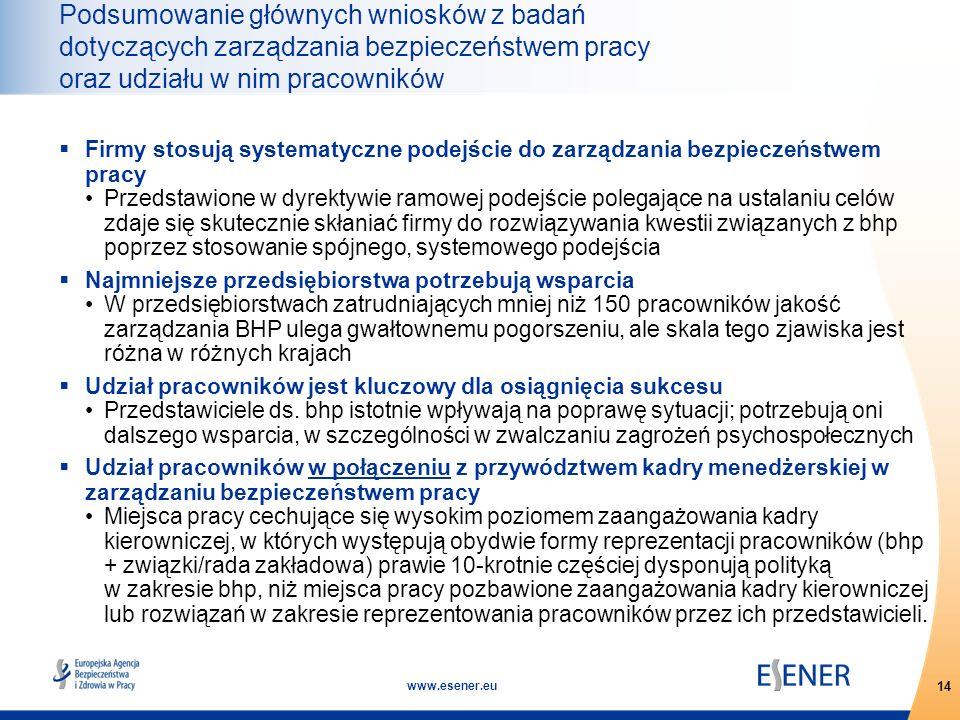 14 www.esener.eu Podsumowanie głównych wniosków z badań dotyczących zarządzania bezpieczeństwem pracy oraz udziału w nim pracowników  Firmy stosują s