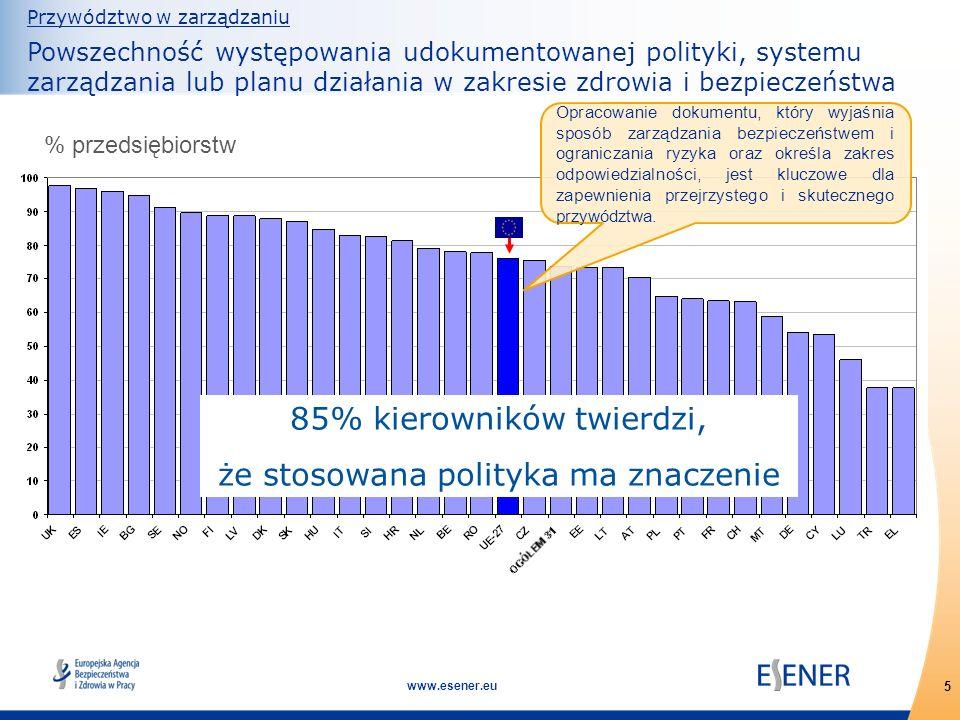 5 www.esener.eu Przywództwo w zarządzaniu Powszechność występowania udokumentowanej polityki, systemu zarządzania lub planu działania w zakresie zdrow