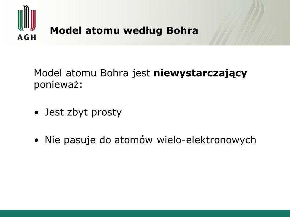 Model atomu według Bohra Model atomu Bohra jest niewystarczający ponieważ: Jest zbyt prosty Nie pasuje do atomów wielo-elektronowych