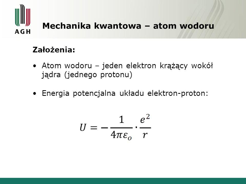 Mechanika kwantowa – atom wodoru Założenia: Atom wodoru – jeden elektron krążący wokół jądra (jednego protonu) Energia potencjalna układu elektron-proton: